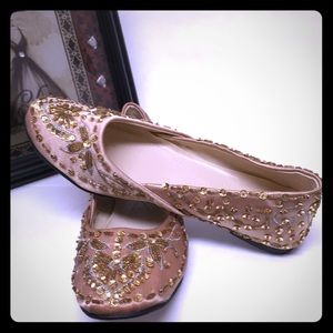 Bakers Beautiful Gold Sequined Oriental Shoes